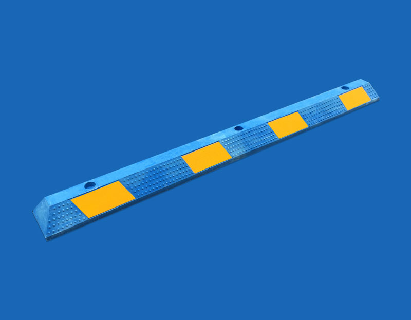 Blue Rubber Wheel Stops - Angle View