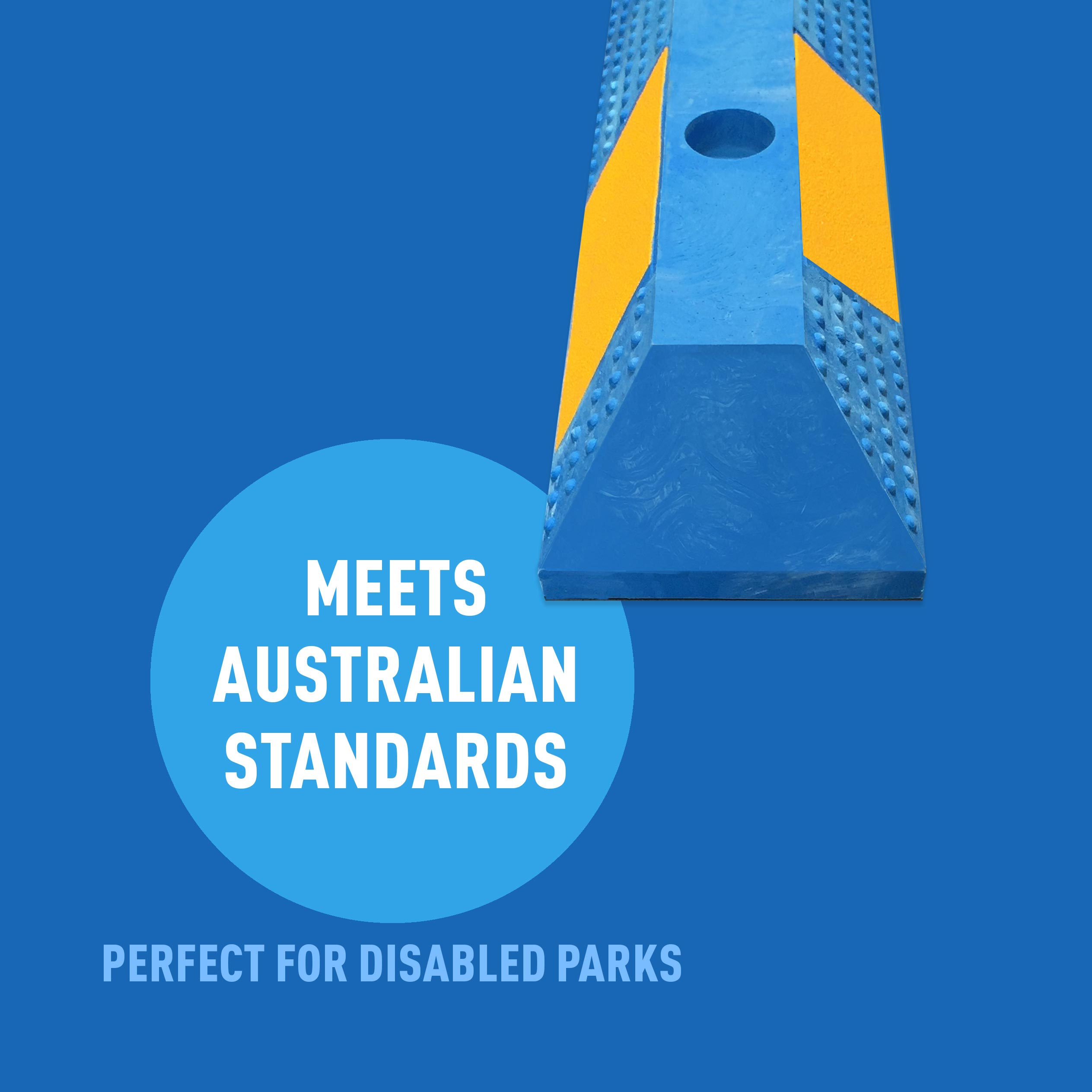 Blue Rubber Wheel Stops - Meets Australian Standards