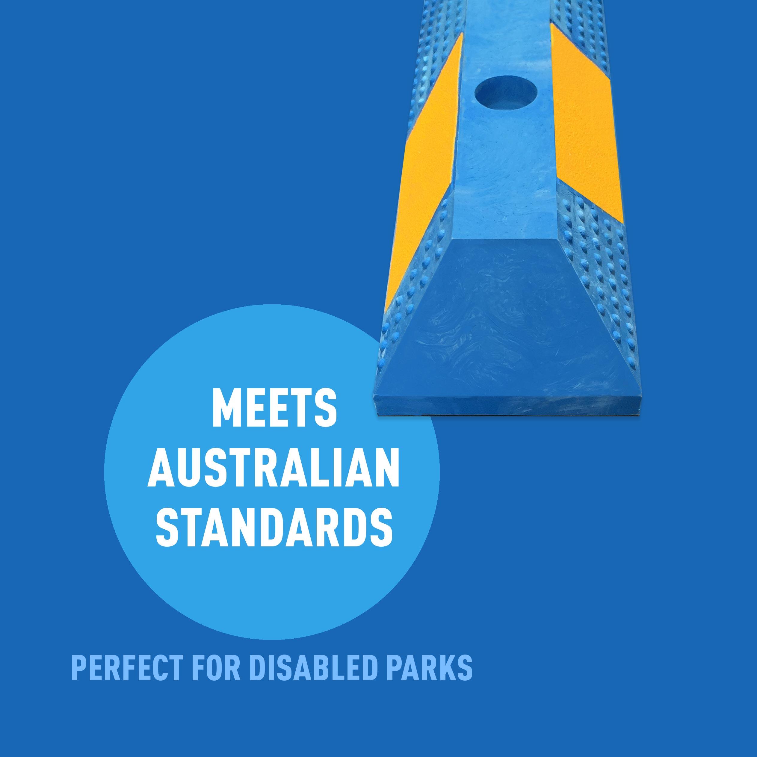 Blue Rubber Wheel Stops - Meets Australian Standards